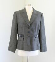 Tahari ASL Levine Black White Gray 100% Wool Faux Belted Blazer Jacket Size 12P