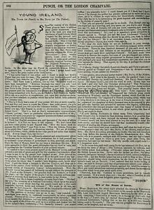 c1845 Antique Victorian Print YOUNG IRELAND - ARTICLE