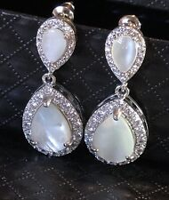 18k Rhodium Plated Mother of Pearl Drop Earrings made w/ Swarovski Crystal Stone