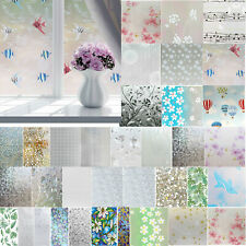 45x200cm Frosted Privacy Glass Film Chic Home Door Window Flower Sticker Decor