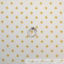 BonEful Fabric Fq Cotton Quilt White Gold Metallic Fleur De Lis French Country S