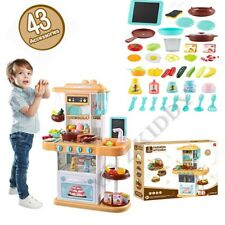 Pretend Cooking Playset Kids Kitchen Toys w Light Cookware Play Set Toddler Gift