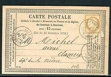 France - Carte précurseur commerciale de Tannay pour Clamecy en 1876 , ref A 115
