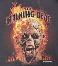 New! AMC The Walking Dead Burning Walker Head T-shirt Black Size L $24