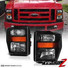 2008 2009 2010 FORD F250 F350 F450 F550 SD Black Headlights Headlamps LEFT+RIGHT