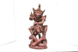"Antique Garuda VISHNU Wood Carving Statue Vishnu Turtle Balinese STATUE  13.5"""