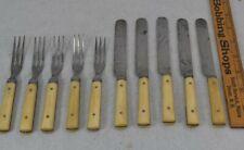 antique flatware knives forks carved bovine steel 10 pc Civil War Era 19th c