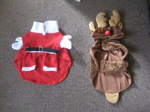 2 x Small Dog Costumes - Santa and a Reindeer
