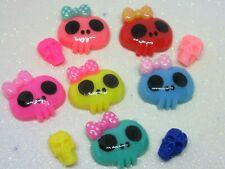 10 Skull Resin FlatBack Cabochon Mix Decoden Kawaii Craft Embellishment