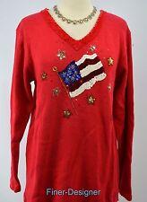 Quacker Factory pullover sweater jumper V neck knit top patriotic flag tunic M