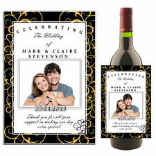 Personalised Wine Champagne Wedding Day Bottle PHOTO Label Table Favours N36