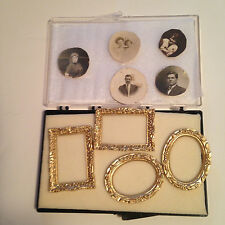Doll House - 4 Ornate Gold Picture Frames  and 5 Vintage Family  Pictures