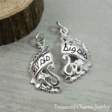 925 Sterling Silver Little and Big Sister Matching Charms NEW