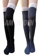 AM Landen Lace Top Lolita Socks Gothic Over-Knee High Cotton Socks(Black+Gray)