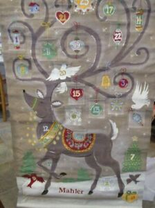 Pottery Barn Kids painted Christmas Reindeer  Advent Calendar monogrammed Mahler