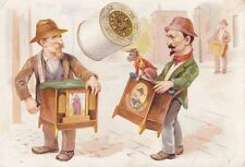 OLD VINTAGE TRADE CARD ORGAN GRINDER MONKEY J & P COATS THREAD CALENDAR 1890