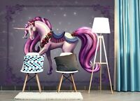 3D Rosa Lila Einhorn 614NAM Tapete Wandbild Selbstklebend Rose Khan Fay