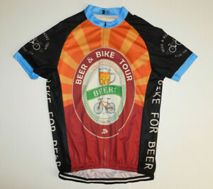 STRGAO CYCLING Beer and Bike Tour Cycling Jersey Full Zip Short Sleeve NWOT 3XL