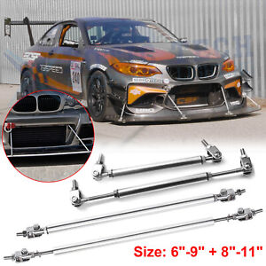 4pcs JDM Chrome Sport Racing Bumper Lip Splitter Strut Rod Tie Support Universal