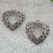 Free Ship 64 pieces tibet silver wing heart charms 31x26mm #289