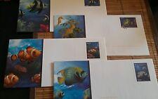 Lot de 4 magnifiques enveloppes Prêt à Poster illustrées poissons tropicaux 20 g
