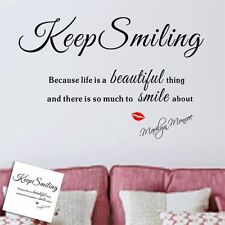 Marilyn Monroe Letter Proverb Quotes Keep Smiling Wall Sticker Vinyl Art Decro