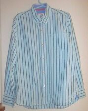 EUC Youth Boys Size 11-12 Years Mini Boden Teal Blue Striped Button Down Shirt