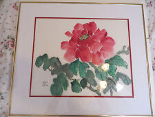 Listed Gloria Mae Smith california artist still life peonies 24x28 water color.