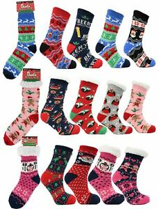 Family Mens Womens Kids Festive Xmas Slipper Bed Socks with Sherpa Lining