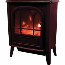 Large 1.8KW Black Log Burning Flame Effect 1800W Electric Fire Heater Stove New