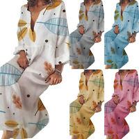 Women's Long Sleeve CasuaL Loose Dress Ladies Casual Kaftan Maxi Beach Sundress