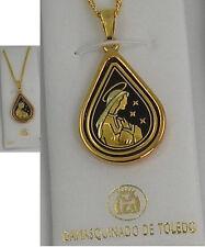 Damascene Gold Virgin Mary Teardrop Pendant Necklace by Midas of Toledo Spain