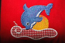 embroidered tea towel DOLPHIN design - add a name for FREE