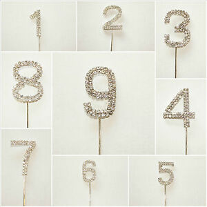 Diamante Rhinestone Number Cake Toppers - Numbers 0-9 Available, Cake Decoration
