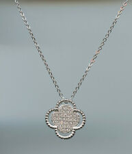 MICRO PAVED, SPARKLING CLEAR CZ CLOVER SLIDE NECKLACE