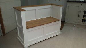 solid pine painted cream/white monks bench pew/made to measure/hallway bench