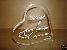 Personalized Acrylic Heart Wedding Cake Topper Engraved