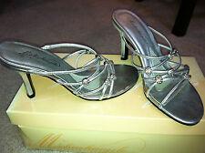 NIB Woman's Silver David's Bridal Michaelangelo Leather High Heel Mules Size 5.5