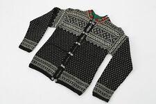 Women's Norwegian Wool Jumper Sweater Cardigan With Metal Clasps Black Size XS