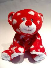 Ty Pluffies Bear Plush Dreamly 2011 Red with White Hearts Machine Washable