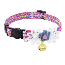 Floral Cat Breakaway Collars Safety Quick Release for Small Puppy Kitten & Bell