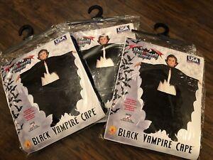 Lot Of 3 New Full Length Fabric Black Vampire Cape Dress Up Child Costume