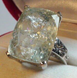 BIG! 17.10 ct BEST QUALITY NATURAL AAAAA..AQUAMARINE RING 925 S.SILVER.SIZE 7.0.