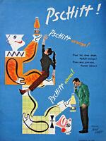 PUBLICITÉ DE PRESSE 1955 PSCHITT ORANGE CITRON - BRIGITTE BARDOT - JEAN CARLU