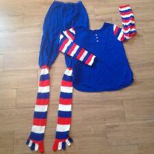 Rare Vintage Novelty Junior's Size 9 PJ's - Patriotic TOE SOCKS Footed Pajamas