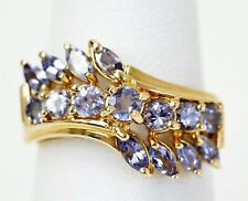 Signed EL 14K Yellow Gold 1 CTW Tanzanite Wave Cocktail Ring  Size 5 3/4 (02779)