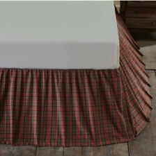 Patch Magic Red Plaid And Green Black Lines Fabric Dust Ruffle Bedskirt - King