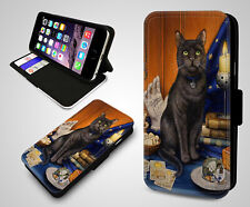 Fortune Teller Black Cat Salem Witches Ball Flip Wallet Leather Phone Case Cover