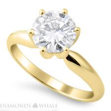 Si/D Engagement Ring 0.45 Ct Round Cut 14k Yellow Gold Bridal Enhanced Diamond