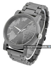 mens big gunmetal world map clubbing watch black dial link bracelet designer